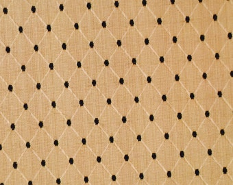 Gold and Black Embroidered Diamond Upholstery Fabric REMNANT