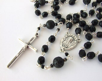 Catholic Rosary - Black Five Decade Rosary Beads with Our Lady with Angels Centerpiece - Men's Rosary - Catholic Gift