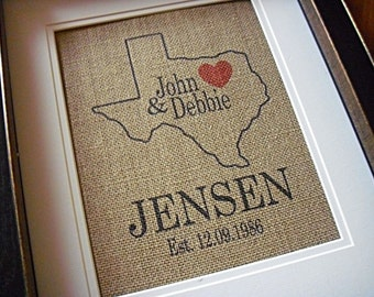 State Art, Burlap Print, Personalized Burlap Art, State Love Wedding Gift, Family Name Established Date, Wedding Sign, Housewarming Decor