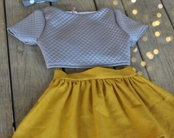 Quilted Crop Top and Mustard Linen Skirt Set