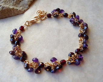 Multi Gemstones Cluster Bracelet.Red Garnet.Purple Amethyst.24k Gold plated.Beadwork.Bridal.Delicate.Mother's.Valentine.Birthday.Handmade.