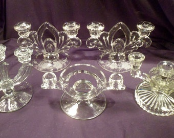 5 Clear Glass Candlesticks with 2- and 3-Light Candleholders, Cambridge, Mid-Century