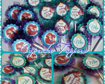 The Little Mermaid CupcakeToppers with Tulle