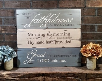 Great is thy faithfulness wood sign, hand painted. - Beautiful Hymn Art.