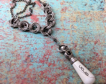 Steampunk Necklace, Faucet Handle Necklace, Chainmaille Necklace, Vintage Fauct Handle, Porcelain Necklace, Steampunk Jewelry, Hot Necklace