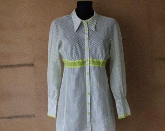 Vintage Striped Cotton Semi-Transparen Blouse Long Sleeves Blouse White Ground Anise Stripes Shirt M/L Size