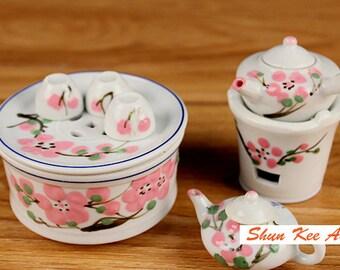 Free Ship, Dollhouse Miniatures, Tea Set, Ceramics, Pink Peach blossom