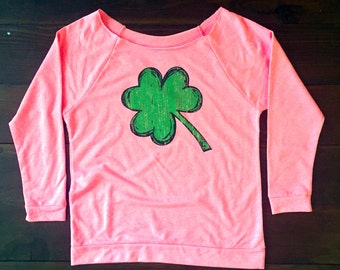 Off The Shoulder. St. Patricks Day. ST PATRICKS DAY. Green Shamrock Shirt. Womens Off The Shoulder.