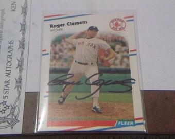 1988 Fleer Roger Clemens #349 Autographed card
