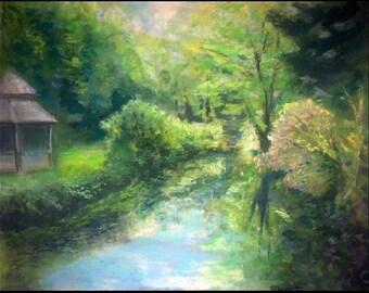 Fine Art Print - Giclee of Original Pastel Painting - Pond at Leamings Run Gardens