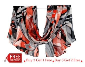 FREE SHIPPING, long scarf, chiffon scarf, red black scarf, print scarf, red silk scarf, silk chiffon scarf, summer scarf, blanket scarf,