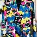 Vintage 1980s 1990s Blazer Jacket Multi Floral colorful Sz M Lined fitted woman's Vertigo Paris fashion neon bold blue pink yellow retro