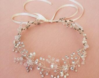 Bridal Hair Vine | Silver Wedding Hair Wreath | Bridal Headpiece | Silver Wedding Hair Accessories | The Silver Ruby