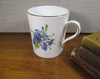 Oakley China Ltd. - Fine Bone China Teacup - Blue Bachelor Button Flowers - Made in England