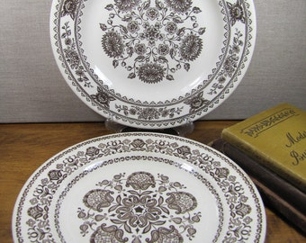 Royal China - Vendam and Wellesley - Mismatched Brown and White Dinner Plates - Floral Pattern - Set of Two (2)