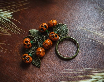 Keychain with pumpkins from polymer clay Halloween