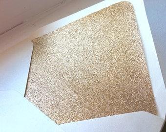 10 Champagne Rose Gold Glitter Envelope Liners // A7 Envelope Liner