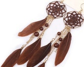 Bohemian feather earrings - ibiza earrings, boho earrings, bohochic earrings