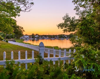 Limited Edition ~ Wickford Charm ~ Wickford, Rhode Island, Sunset, Boats, Wickford Harbor, Summer, Fine Art Canvas, New England