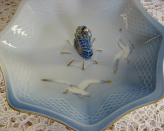 Royal Copenhagen Vintage China Small Serving Dish,Tidbit Tray,Seagull Pattern,Seahorse Handle,Denmark, Bing & Grondahl,Blue,White,Gold Trim