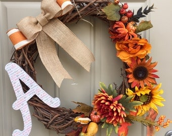Fall Door Wreath with Monagram