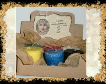 Elemental Votive Set of 6~With evocation card~Unscented~Witch, Spell candles, candle magic,Ritual,Pagan