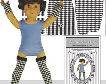 """18"""" Doll Socks and Gloves - Black & White Diamond Thigh High Socks and Gloves"""
