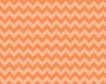 SALE, Chevron Fabric, Basics Fabric, Small Chevron Tone on Tone by Riley Blake, Orange, Cotton, 1 Yard
