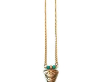 Gold Pendant Necklace, Long Gold Pendant Necklace, Long Gold Pendant, Fall Statement Necklace, Fall Necklace, Autumn Necklace, Statement