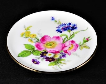 GLORIA Hand Painted Flowers Gold Trim Antique Dish Plate Round Bayreuth Germany
