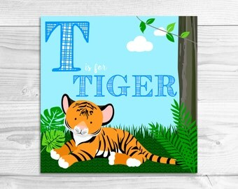 Instant Download: T is for Tiger Wall Art Print // Baby Art, Nursery Art, Alphabet Art
