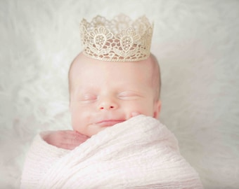 Handmade Baby Gold Crown Tiara - Newborn Lace Crown Perfect Photography Prop