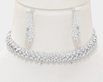 3-Row crystal rhinestone bubble choker necklace