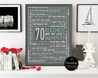 70 REASONS We Love Dad / 70th Birthday Gift / For HIM / For Dad  / DIGITAL File / Unique Gift / Custom Word Art / 16x20 / Wall Art