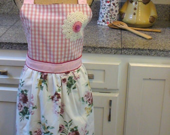 Country Garden Floral and Pink and White Check Full Apron, Full Apron, Pink and White Apron, Vintage Crochet, One of a Kind, MarjorieMae