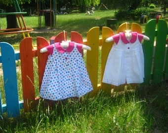 Baby Cotton  Dress - 3-6 months - ready to ship, handmade baby clothes