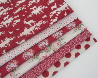 TILDA  'Sweetheart ' Quilting and Craft Floral Spot Forest Red 100% Cotton Fabric Fat Quarter Bundle x 6
