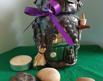 Glass clay handmade witch's house, led candle holder