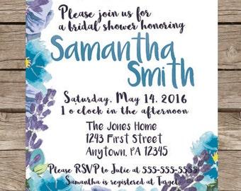 Blue & Purple Flowered Watercolor Bridal Shower Invitation