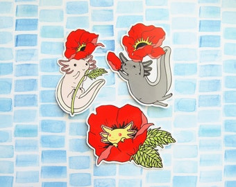 THREE PACK Axolotl Vinyl Stickers