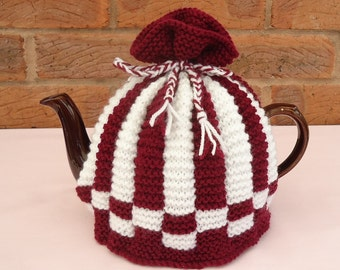 Hand Knitted Tea Pot Cover ( Maroon and White )