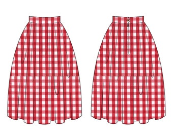 """Lola Skirt """"Sunday Picnic"""" in a Red Checkered Gingham Print"""