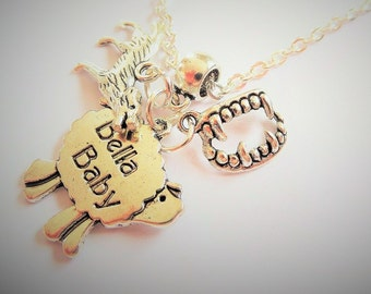 "BOOK inspired quote ""and so the lamb fell in love with the lion"" inspired charm necklace"