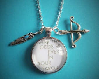 "BOOK / Film  - ""may the odds be ever in your favor"" quote inspired 25mm glass dome - fan gift - Mockingjay"