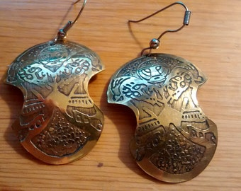 Vintage Etched Brass Earrings