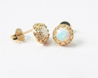 white opal stud earrings, white fire opal earrings, gold stud earrings, white opal earrings, small stud earrings, October birthstone