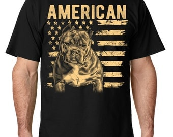 Patriotic Mens Pit Bull Shirt American Bully Tshirt for men in sizes small through 5x