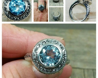 2 Carats Natural Aquamarine set 925 Sterling Silver Ring /size 8.25/ Edwardian Style