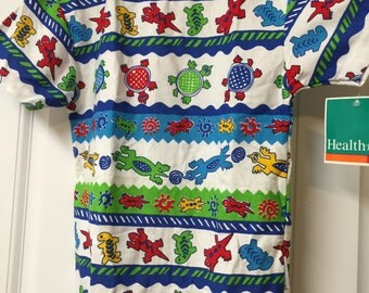 Healthtex Boys Turtle t-shirt, vintage, NOS, lizards, 90s, 80s, new old stock, dead stock, nwt, funky, green, blue