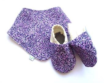 Purple Static Baby Shoes and Bandana Gift Set